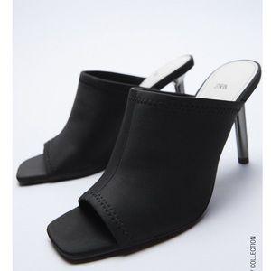 Zara Black Neoprene Mules